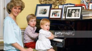 Gimbiya Diana tare da 'ya'yan ta yarima William da Harry