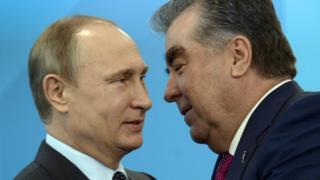 Президент Росии Владимир Путин и президент Таджикистана Эмомали Рахмон