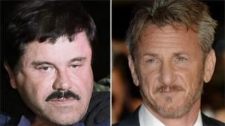 "Drug lord Joaquin ""El Chapo"" Guzman and Sean Penn, 10 January 2016"