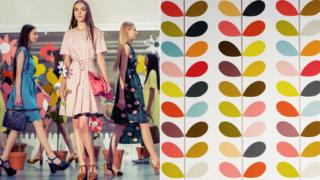 Composite image of Orla Kiely presenting her 2015 Spring Summer collection and a Orla Kiely print design