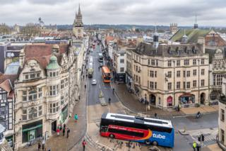 Oxford's High Street viewed from Carfax Tower