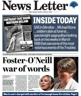 News Letter front page on Tuesday 6 March