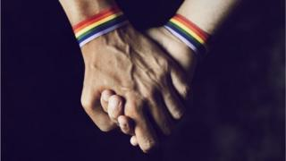 A gay couple holding hands