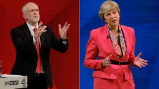 労働党のジェレミー・コービン党首(左)とテリーザ・メイ首相