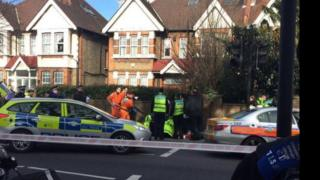 Scene of collision at Upper Clapton Road