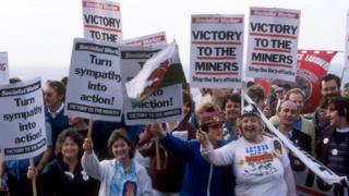 Miners demonstrate during the strike