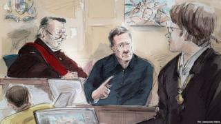From left to right, Mark Smich, Justice Michael Code, Dr. Robert Burns and Dellen Millard are shown in an artist's sketch at the Laura Babcock murder trial on 16 November 2017