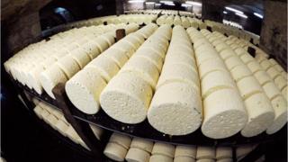 Wheels of Roquefort cheese