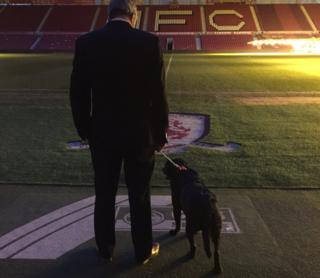 Gordon Cox and Benji at the Riverside after Ali's stadium