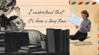 Man sitting at a typewriter with the words 'I understand that it's been a long time'