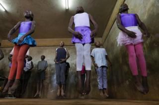 Young ballet dancers jumping in Nairobi, Kenya - Wednesday 18 January 2017