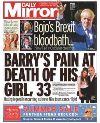 front page of the Daily Mirror Thursday 25 July 2019