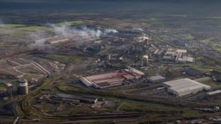 Aerial view of British Steel Scunthorpe plant