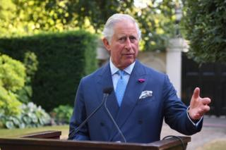 Prince Charles speaks at a reception for EU and Balkan leaders in the gardens of St James's Palace in central London on 10 July 2018