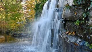 Walking by waterfalls at Oxford Business Park