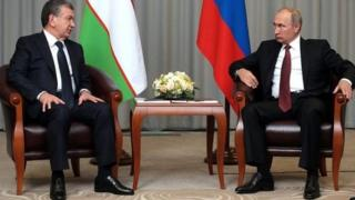 Ўзбекистон Президенти Шавкат Мирзиёев ва Россия Президенти Владимир Путин