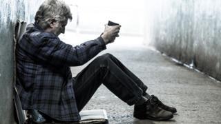 A homeless man