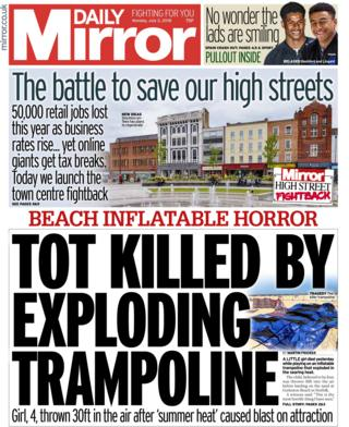 Daily Mirror front page - 02/07/18