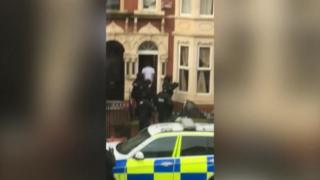Armed police outside a house in Kimberley Road, Cardiff