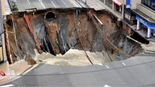 When images of this sinkhole in Fukuoka, Japan, appeared on 8 November, social media users saw an omen for the US election