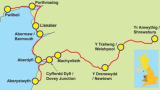 Map Lein Arfordir y Cambrian