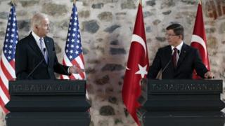 Joe Biden and Ahmet Davutoglu