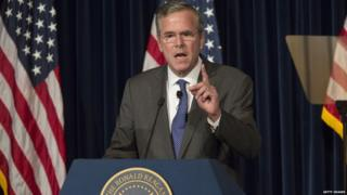 Republican presidential candidate Jeb Bush speaks at the Reagan Presidential Library.