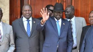 President Salva Kiir (right) and Riek Machar (left) have been holding face-to-face talks