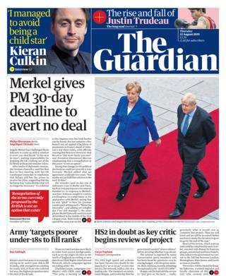 Guardian front page 22/08/19