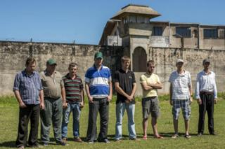The eight remaining Mennonites incarcerated in Palmasola prison. Santa Cruz de la Sierra, Bolivia