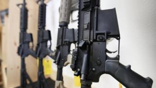 File photo shows AR-15 semi-automatic rifles for sale in Springville, Utah (17 June 2016)
