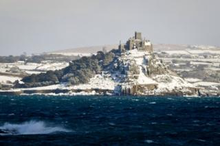 St Michael's Mount in Cornwall, lies covered in snow