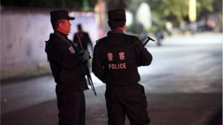 Патруль в Куньмине после теракта в 2014 году