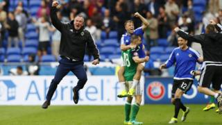 Northern Ireland manager Michael O'Neill celebrates after Niall McGinn scores against Ukraine at Euro 2016
