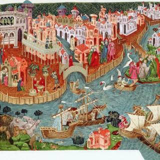 Pintura que retrata a partida da expedição de Marco Polo e seus tios
