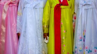 North Korean women dressed in the choson-ot, also known as a hanbok