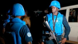 Soldier from di United Nations Multidimensional Integrated Stabilization Mission inside Mali
