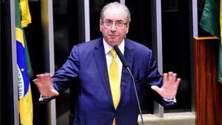 Eduardo Cunha durante discurso na Câmara antes da cassação