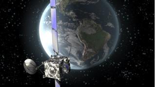 Impressão artística da sonda europeia Rosetta em órbita ao redor da Terra em novembro de 2009