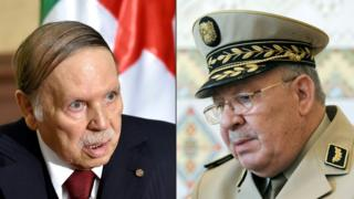 General Ahmed Gaid Salah (i buryo) na Prezida Abdelaziz Bouteflika(i bubanfu)
