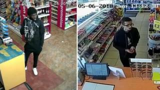 Two CCTV images of men at a newsagent's till