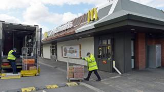 A delivery arrives at a branch of McDonald's at Boreham