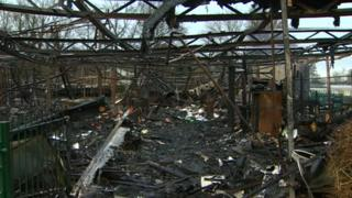 The burnt out remains of Coed Eva Primary School