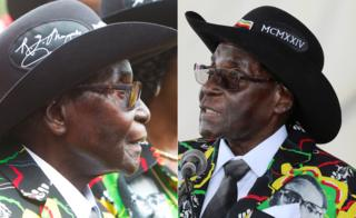 Two photos of Zimbabwe's Robert Mugabe in a black cowboy hat - designed on one side with his signature and with Roman numbers MCMXXIV on the other - at Matopo Research Centre in Matobo, Matabeleland, Zimbabwe - Saturday 25 February 2017