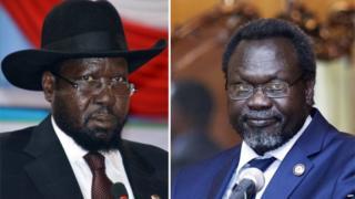 Rais wa Sudan Kusini Salva Kiir na aliyekuwa makamu wake Riek Machar