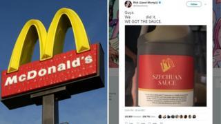 麦当劳标志以及动画片《瑞克和莫蒂》主创的推特截图