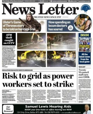 Belfast News Letter front page Tuesday 9 April