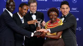 Miembros del Equipo Olímpico de Refugiados durante los premios Laureus.