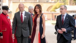 First Lady Melania Trump and Philip May, right