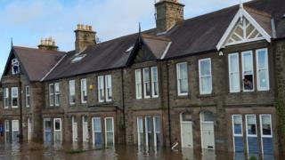 Row of houses flooded